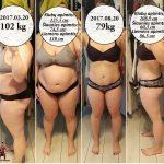 Klientės pokyčiai. -23kg per 5 mėnesius. Treniruotės 3 kartus į savaitę bei naujų mitybos įpročių keitimas.